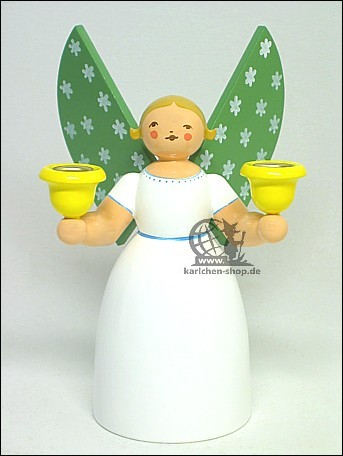 angel holding candles, white / 14 cm