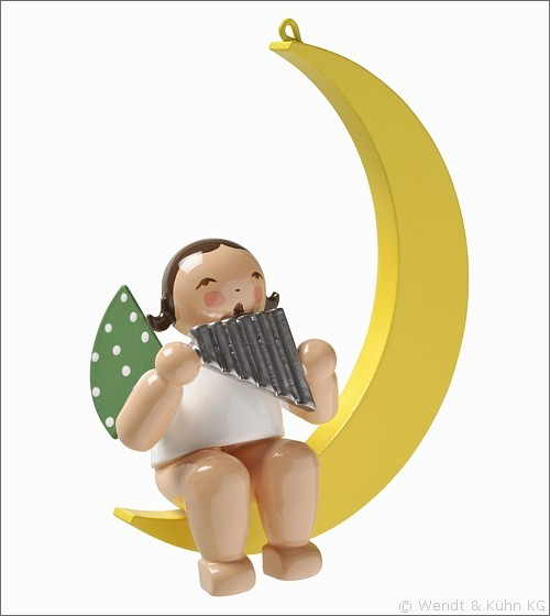 angel with pan flute, in moon