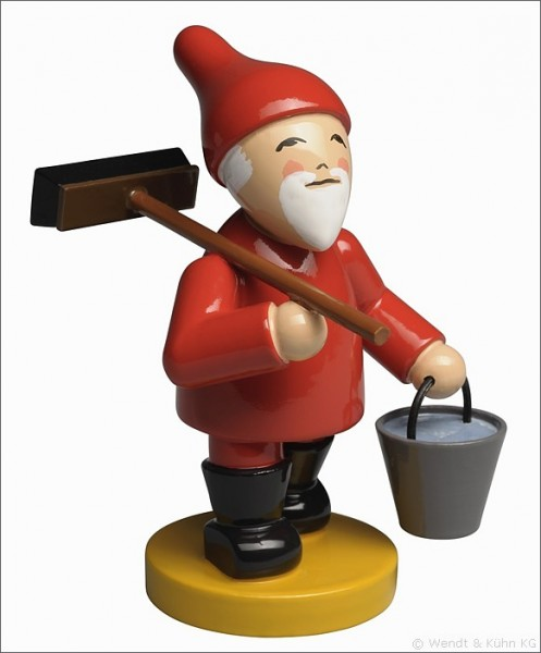 Gnome with broom and bucket