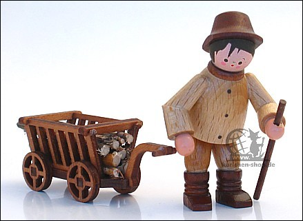 Forest worker with handcart