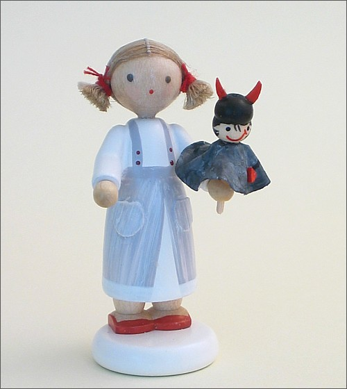 Flade Girl with little devil puppet
