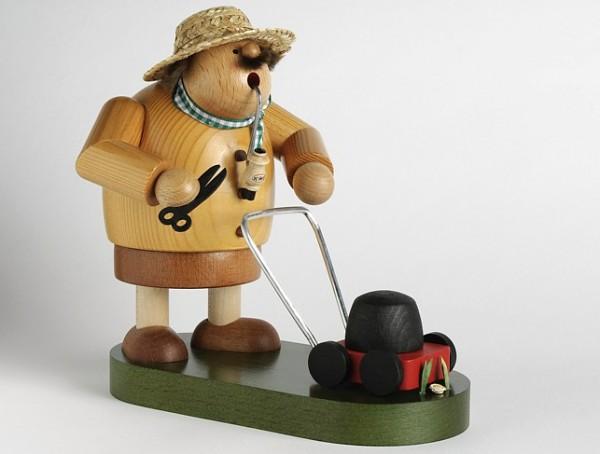 Gärtner mit Rasenmäher - Räuchermann