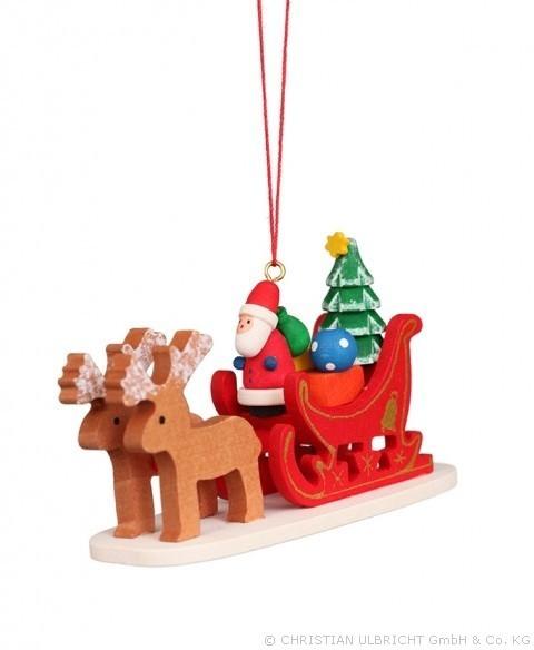 Weihnachtsmann im Rentierschlitten - Baumbehang