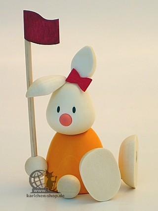 Kaninchen Emma beim Golf - Fahne
