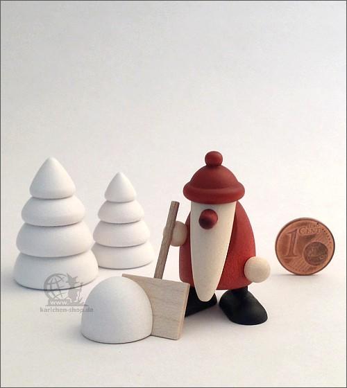 Weihnachtsmann mit Schneeschippe und 2 Bäumchen - Miniaturset 4