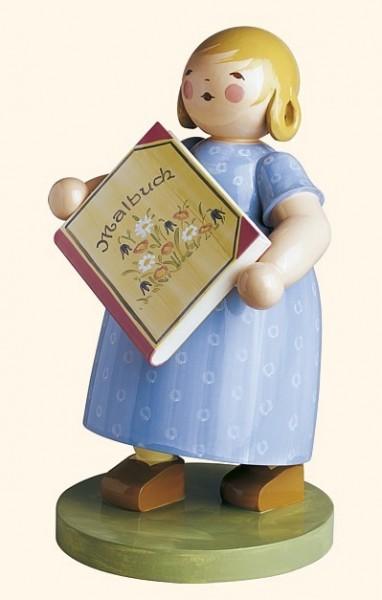 Mädchen mit Malbuch / 21 cm