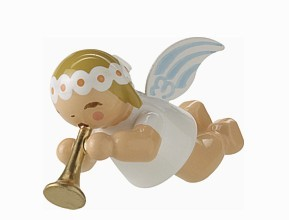 Little suspended angel with small trumpet