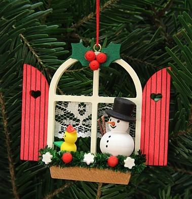 Adventsfenster mit Schneemann - Baumbehang