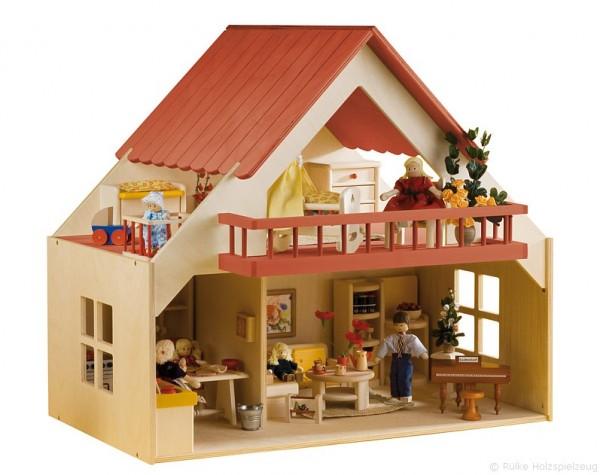 Haus mit Balkon - rot