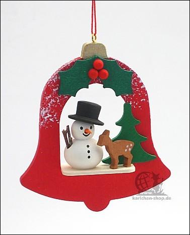 Schneemann in roter Glocke - Baumbehang