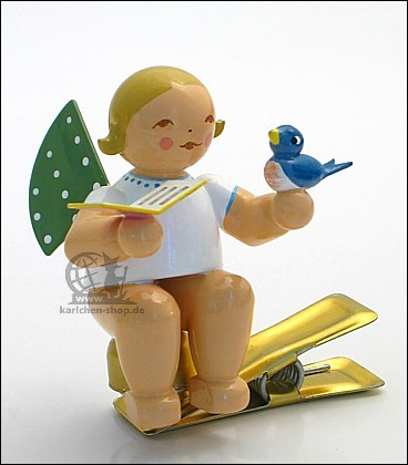 Engel auf Klemme mit Vogel auf der Hand